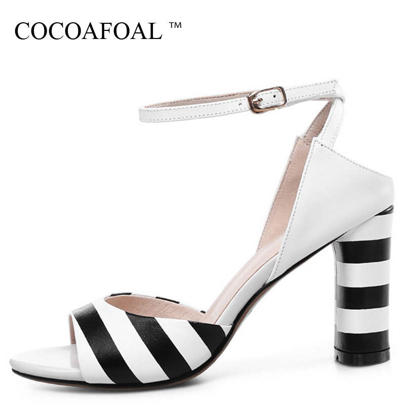 COCOAFOAL Women Stripe Big Size 33 43 Sandals White Open Toe Heel Height Shoes Sexy Party Genuine Leather Peep Toe Sandals 2018 cocoafoal woamn patent leather sandals fashion heel height black white wedding shoes sexy genuine leather pointed toe sandals
