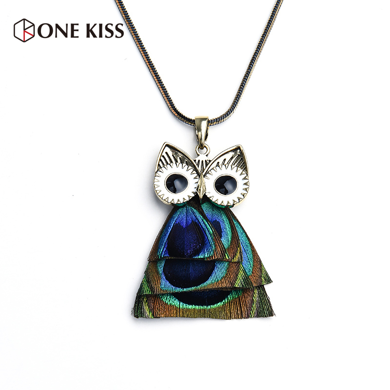 Fashion Charm Peacock Green Feather Wings Pendant Owl Eye Design Women Long Sweater Chai ...