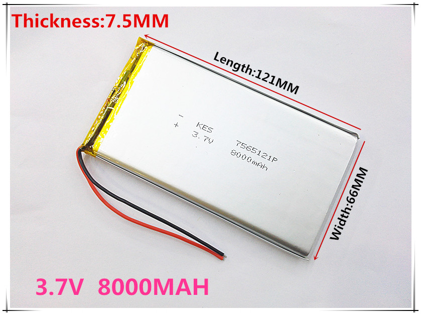 best battery brand 3.7 V lithium polymer battery 8000mah 7565121 rechargeable batteries treasure navigation tablet phone maytoni dl296 6 6w w