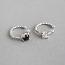 цена на 925 Sterling Silver Earrings 2019 Black White Cubic Zirconia Clip Earrings For Women Fashion Ear Cuff Clip On Earrings Jewelry