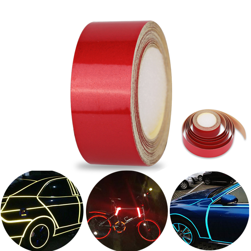 5m*2cm Red Reflective Car Tape Styling Truck Reflective Tape Stickers Film Safety Mark Automobile Self Adhesive reflective film reflective front mitsubishi shelf reflective car stickers ling yue v3 lancer car stickers