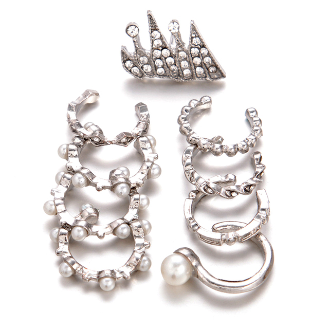 9PCS/Set Boho Ear Cuff Brincos Simulated Pearl Ear Clip Earrings Set
