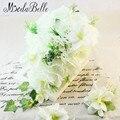 Свадебный Букет Белый рамо де novia 2016 Искусственный Цветок Невесты Teardrop Каскад Водопад Букет рамос де novia envio безвозмездно