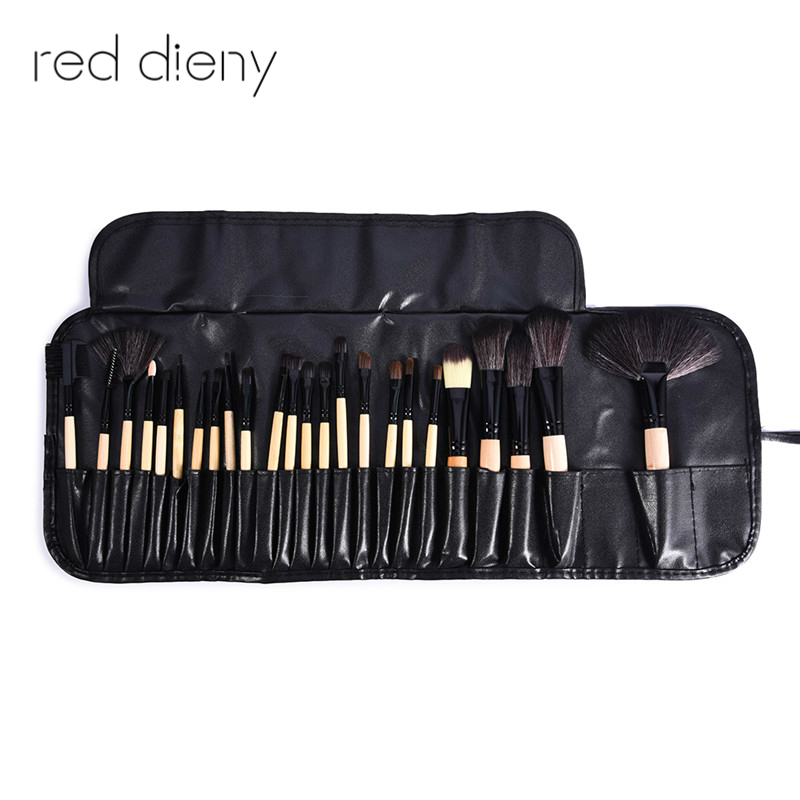 24Pcs Profession Makeup Brushes Set  Make Up Tool Cosmetic Foundation Eyeshadow Powder Blush Fan Shaped Brush Leather Case focallure 10pcs makeup brushes set foundation blending powder eyeshadow contour blush brush beauty cosmetic make up tool kit