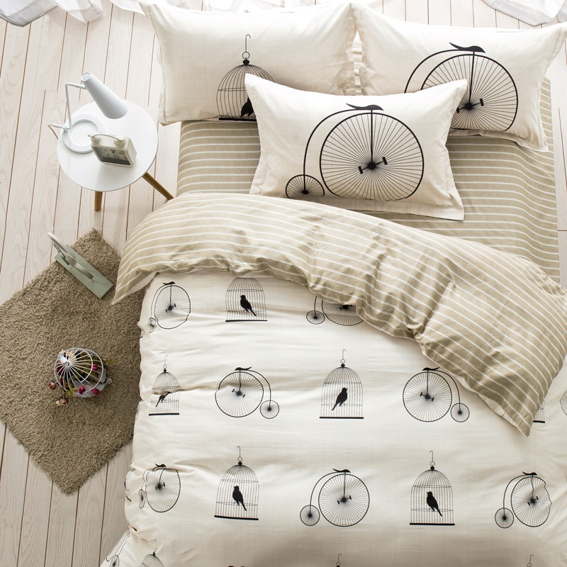 Pastoral bedding set Chirstmas gift 4pcs bedding duvet cover + flat sheet queen size bed linens AB side bed set Adult bedclothes