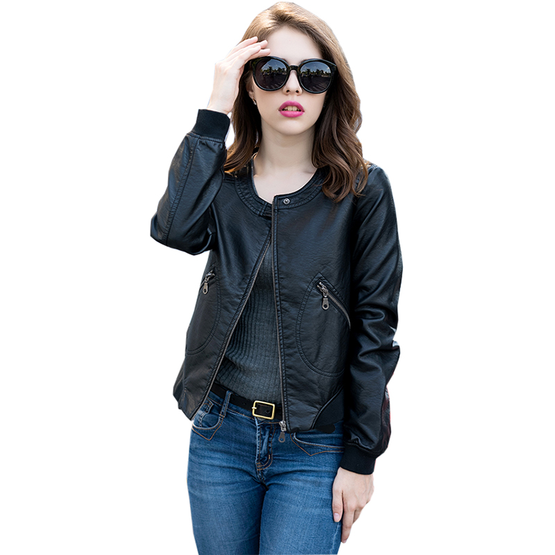 PU Leather Faux Leather Jackets Motorcycle Women Jacket Autumn Short Slim Zipper Thick Suede Warm Ladies Coat Plus Size RE0159