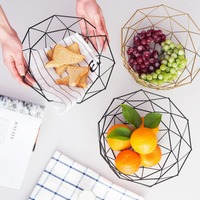 European Kitchen Fruit Basket Fashion Hollow gold Storage Basket With Two Pieces Of Two Size Basket DQ9142 1