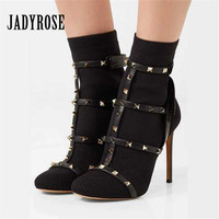 Jady Rose Rivets Studded Women Ankle Boots Sexy 10CM High Heel Botas Mujer Women Pumps Sexy Black Knitting Sock Booties