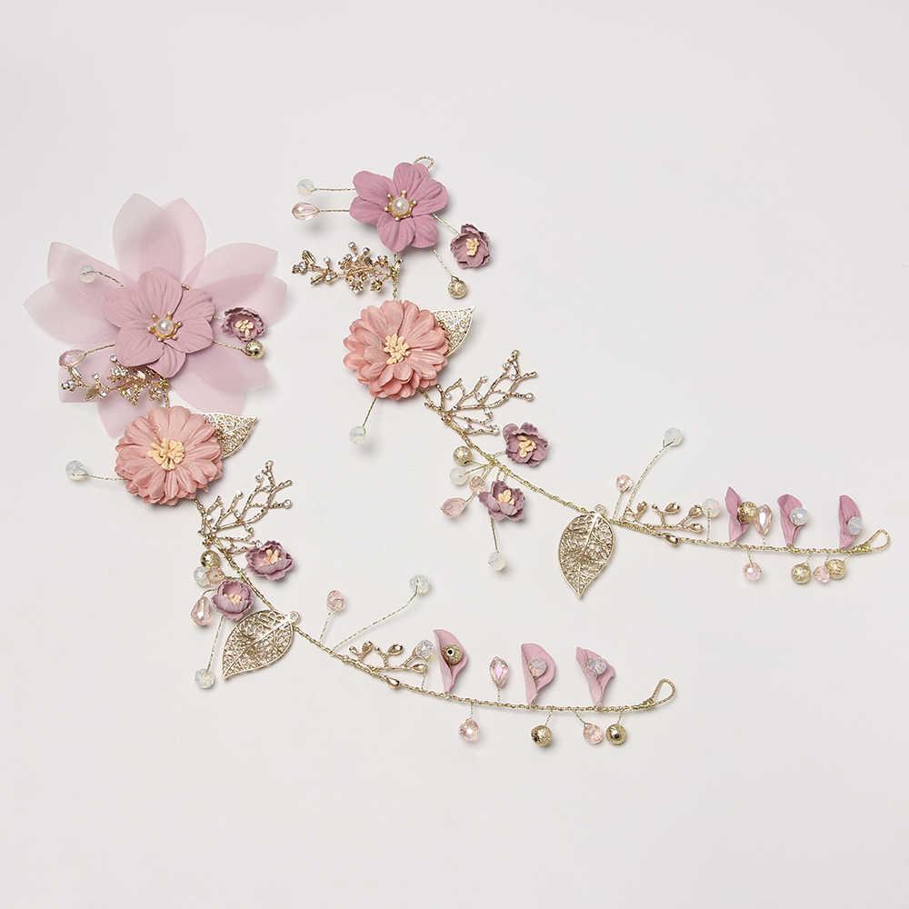 花嫁帽子ヘッドバンドヘアアクセサリーウェディングヘッドドレス手作りの紫の花ティアラ合金かぶと王冠の髪の宝石