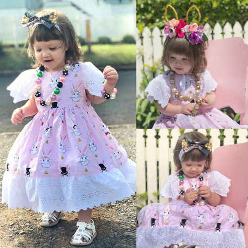 99e500315ba15 2018 New Kid Girl Rabbit Dress Cute Baby Girl Lace Tutu Dress Christening  Princess Wedding Birthday Party Dress Summer Sundress