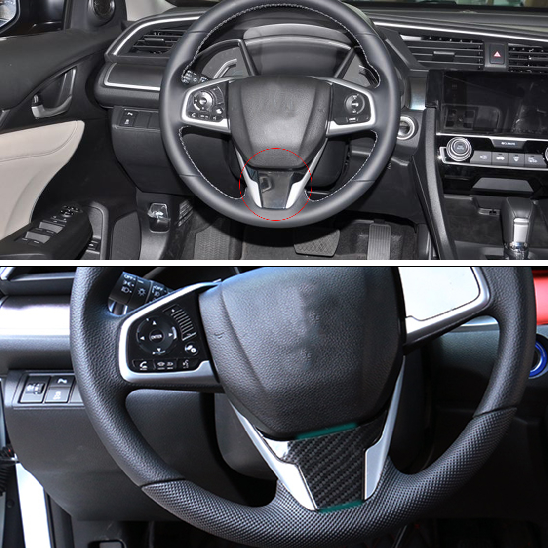 CITALL 1PC car-styling Carbon Fiber Steering Wheel Panel Molding Cover Frame Trim Fit for Honda Civic 10th 2016 2017
