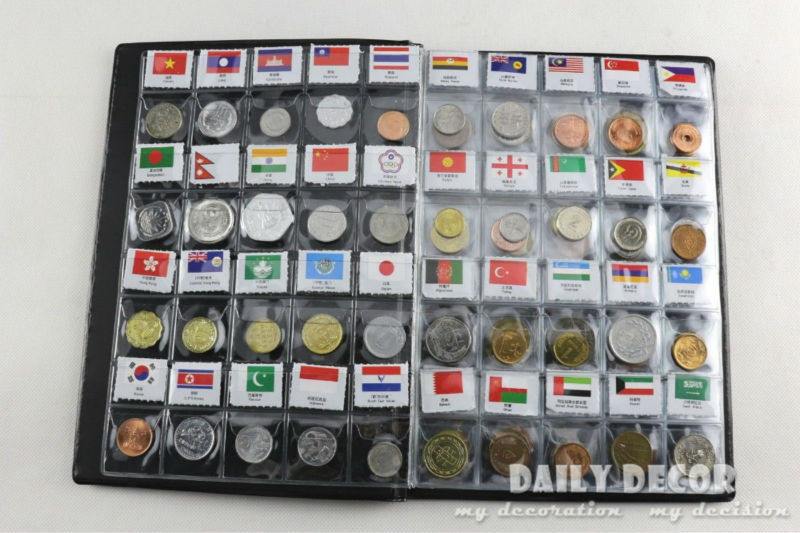 World Genuine Coin Collection Album from 120 Country China Asia UK Europe AU  coin holder book / album with 120 world coins-in Photo Albums from Home & Garden    1