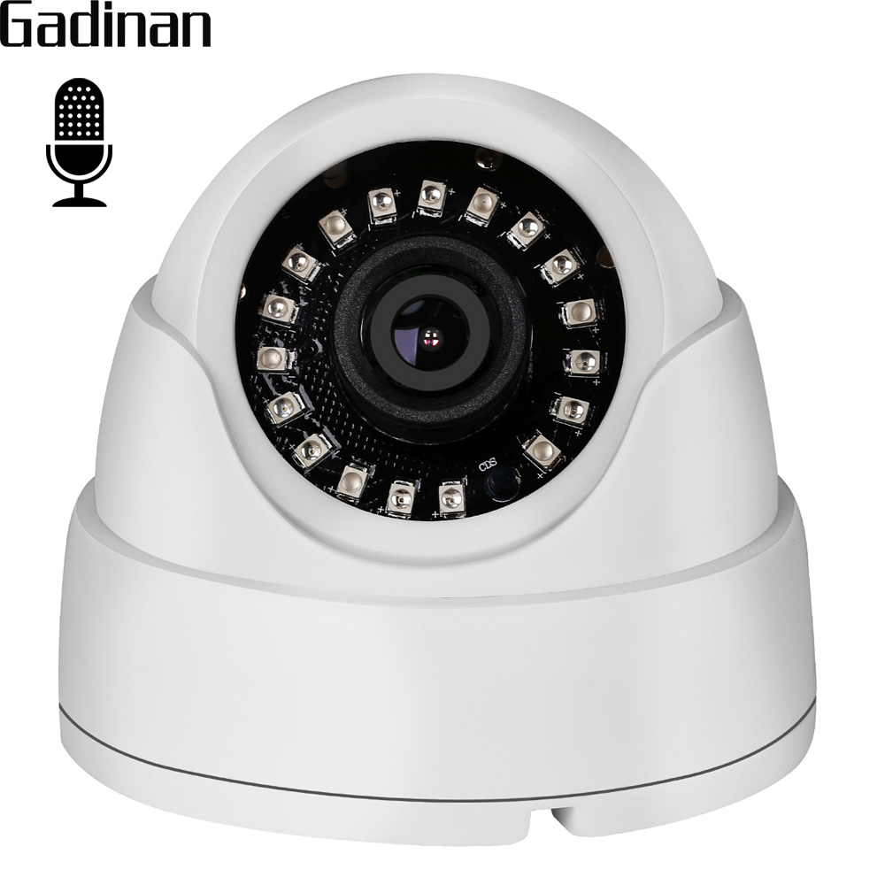 GADINAN Wide Angle 2.8mm Lens Internal Audio Dome IP Camera 720P 960P Hi3518EV200 Built-in Microphone DC 12V 48V PoE Optional