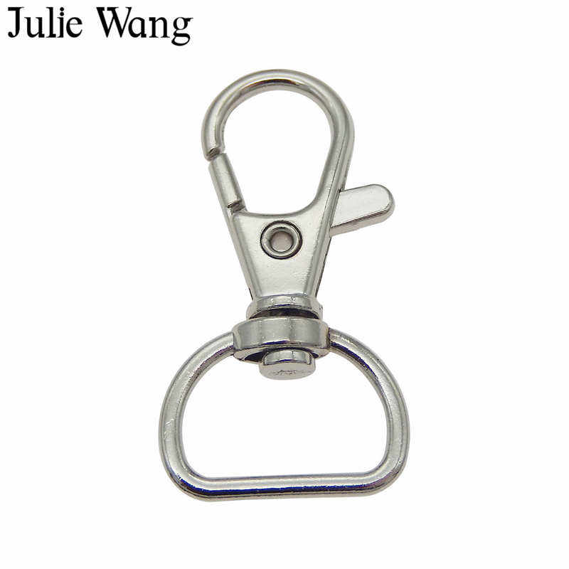 Julie Wang 10PCS Swivel Lobster Keychain Key Ring Clasp Clips Snap Hook Backpack Bag Trigger Buckle Jewelry Making Accessory