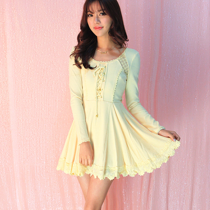 Oncle Verticales Rayures Bowknot Sweet Splicing Backless Princesse Fils Uf66 Net Bind Tricot Fleur Évider Robe Lolita OIqRqBU