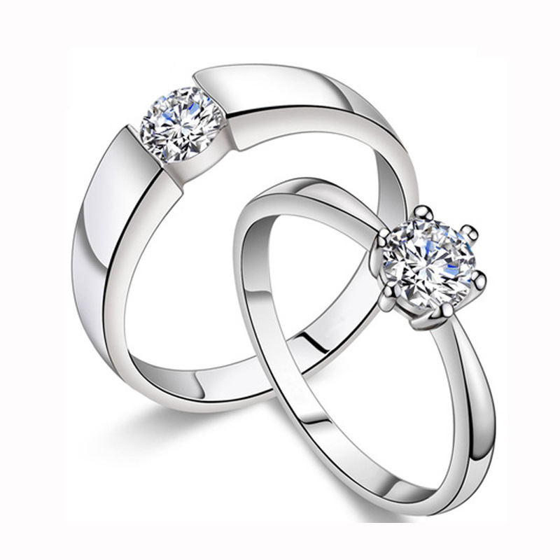 New Hot Sell Fashion Lovers' Rings 925 Sterling Silver Wedding Couple Rings Bestselling Men Jewelry Wholesale WR007