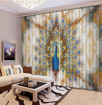 custom 3d modern curtains Marble peacock 3d kitchen curtains short 3d curtains for bedroom living room 3d photo curtains