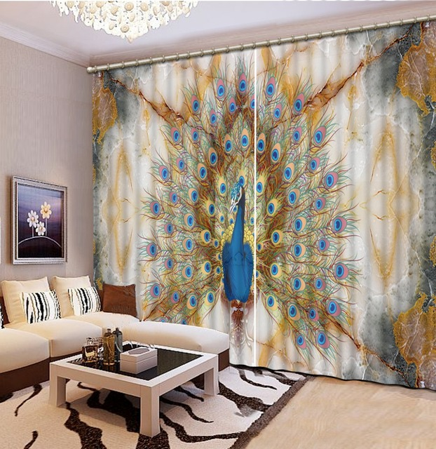 Exceptionnel Custom 3d Modern Curtains Marble Peacock 3d Kitchen Curtains Short 3d  Curtains For Bedroom Living Room