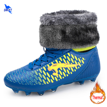 32-46 Winter Thermal High Ankle FG Mens Kids Boy Soccer Boots Removeable Fleece Lining Sneakers Football Shoes Futsal Cleats