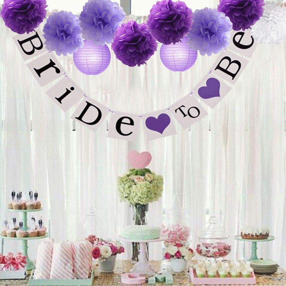 16pcs Tissue Paper Flowers Ball Pom Poms Mixed Paper Lanterns Craft Kit For Lavender Purple Babyshower Decor Wedding Decorations
