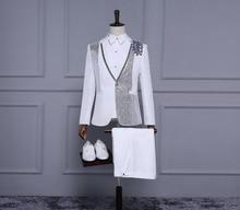 (suit+pant ) New white sequins suits Men's fashion slim fit suit personality Wedding formal dress singes stage costumes ! M-XL