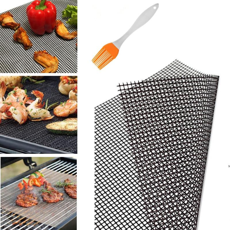 Teflon Barbecue Supplies High Temperature Resistant Grid Mesh Piece Bag Reusable