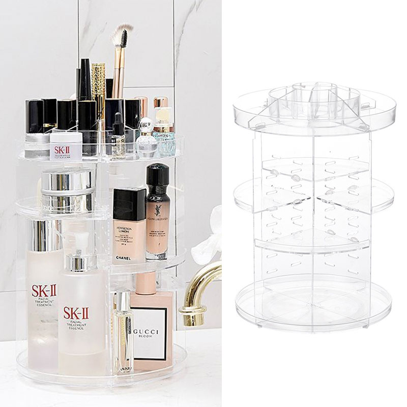 Transparent Cosmetic Storage Box Desktop Plastic Makeup Organizer Box Large Storage Container Home Office Sundries Jewelry|Makeup Organizers| |  - title=