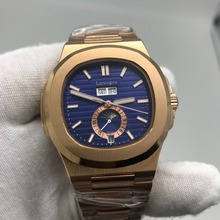 Gold watch PP men blue dial automatic Glide sooth second hand sapphire glass luminous small dial works watches AAA+ цена и фото