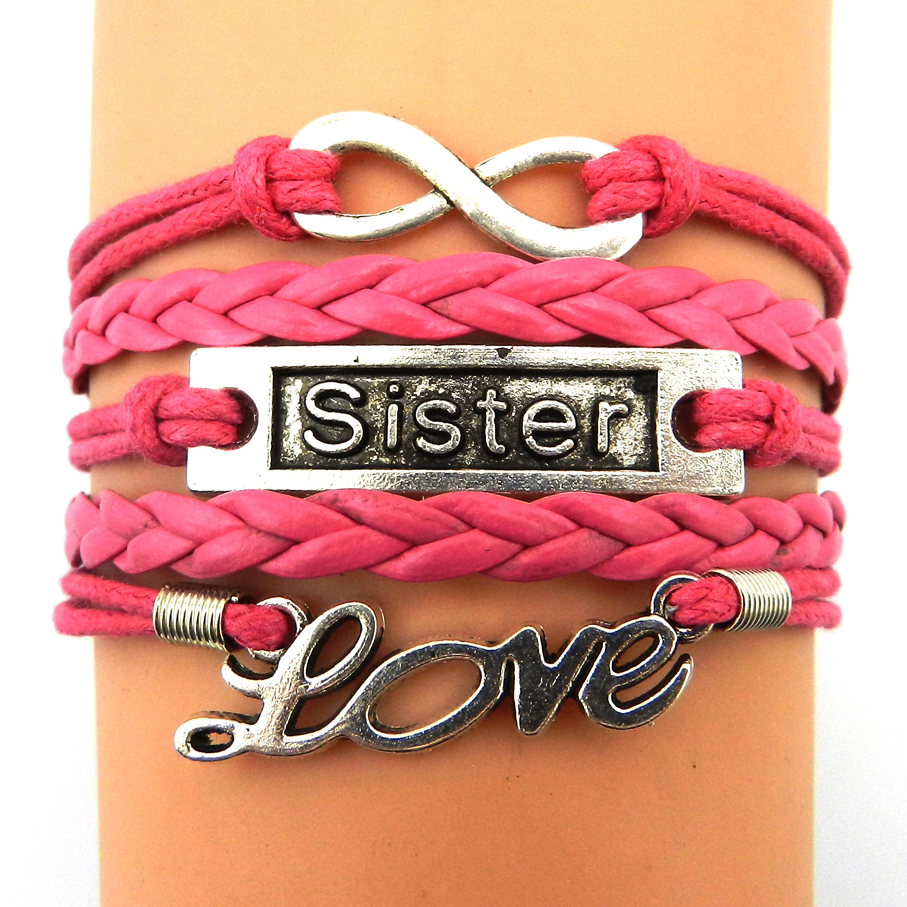 Fashion Diy Love Jewelry Handmade Colorful Bracelets Braided Rope Cuff  Wristband Wrap Bangle Sister