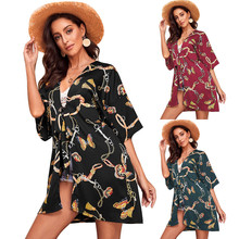 Women Floral Butterfly Print Open Cape Casual Coat Loose Blouse Crochet Kimono Jacket Cardigan