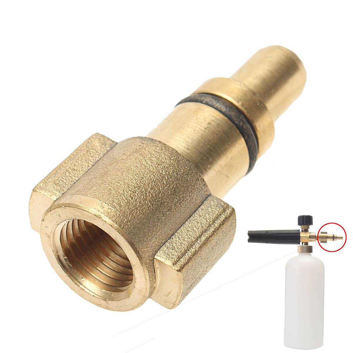 New Brass Snow Foam Lance Adaptor 1/4 Inch Female Car Pressure Washer Adapter Quick Connector For Lavor Snow Foam Lance