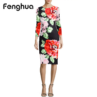 Fenghua Fashion Elegant Autumn Winter Dress Women 2017 Long Sleeve Foral Vintage Sexy Work Business Office