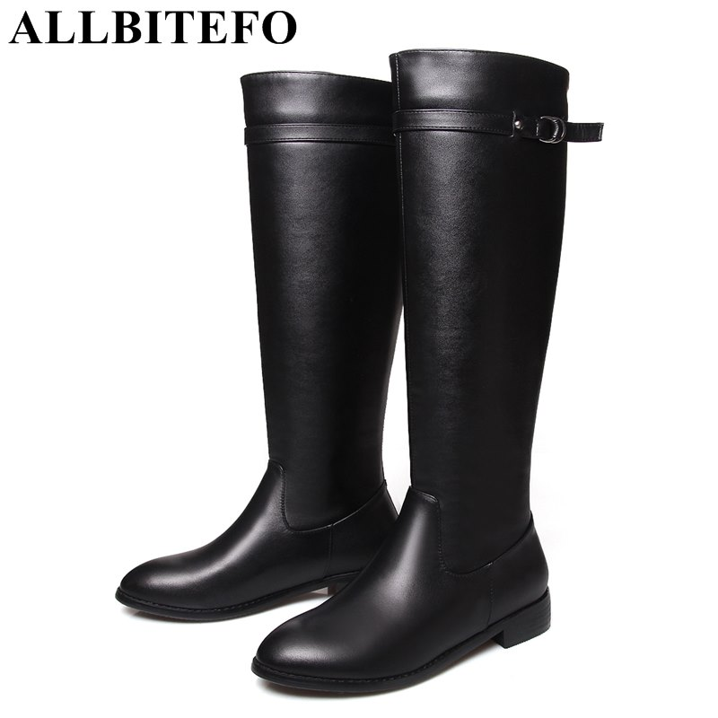 ALLBITEFO large size:33-41 genuine leather low-heeled women boots brand buckle thick heel women knee high boots winter boots