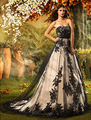 Garden/Outdoor A Line Court Train Natural Waist Lace Strapless Bridal Gown Tulle Lace Up Back Black Wedding Dress