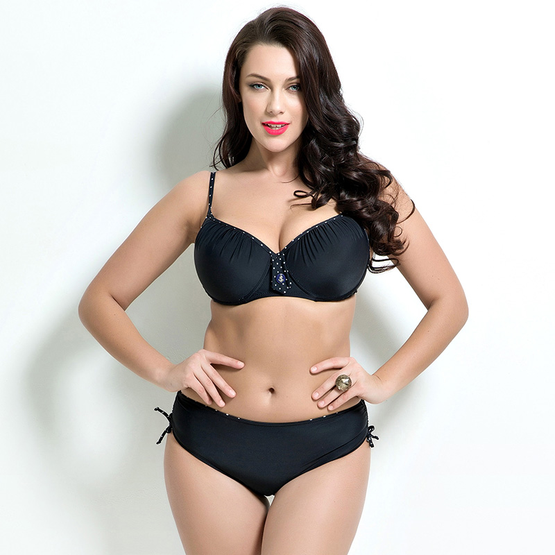 Black Plus Size Sexy Bikini Set 2017 Women Solid Swimwear Push UP Swimsuit Female Large 4XL Bathing Suit Low Waist Biquini F1684 black solid plus size swimwear sexy women one piece swimsuit high waist push up bathing suit retro tankini large size dress