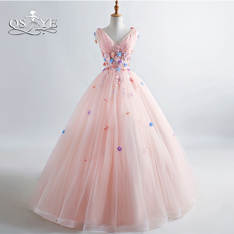 QSYYE 2019 Pink Long Prom Dresses 3D Floral Flowers Lace Beaded V Neck Floor Length Tulle Evening Dresses Party Gown