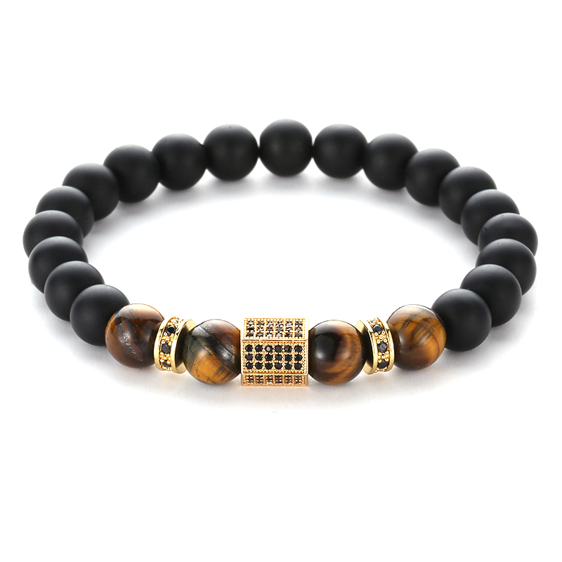 4 Colors Trendy 8mm Black Stone Pave CZ Hexagon Prism Charm Bracelet Men Women Bracelet Jewelry Pulseira Jewelry