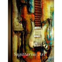 High quality hand painted oil painting guitar Original Painting Modern Abstract art Canvas Living room decor Home Decoration