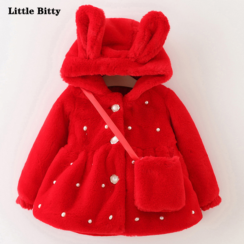 Winter Baby coat Hooded Princess Jacket Coat Kids Thick Outerwear + Gift Small Bag baby girls coat rib cuff zippered hooded coat