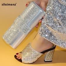 32657309cf Sommer Slipper Italienischen Sets Silber Farbe Nigerian Schuhe mit Passenden  Taschen Hohe Qualität Afrikanische Schuhe und