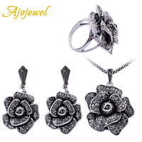 Ajojewel Black Crystal Rhinestone Big Flower Necklace Earrings Ring Joyas Fashion Vintage Jewelry Sets For Women