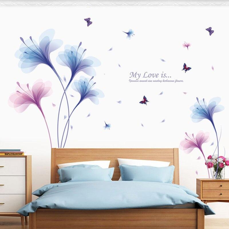 US $5.56 40% OFF Traum Orchideen Wandaufkleber 3D Schmetterling Wandtattoos  PVC Muurstickers Wohnkultur Schlafzimmer Hintergrund Blume Aufkleber ...