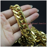 8 40 18mm High Quality Cool 316L Stainless Steel Gold Plated Mens Boys Necklace Bracelet Bangle