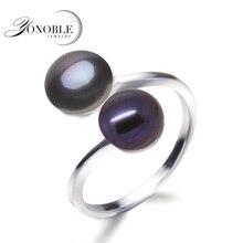 YouNoble Boda anillo negro anillos de perlas naturales de las mujeres de plata 925 doble perla anillos ajustables esposa aniversario regalo de cumpleaños