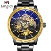 LANGLEY Automatic Watch Men Top Brand Stainless Steel Mechanical Watches Male Black Classic Skeleton Business Clock