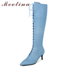 Meotina Women Knee High Boots Winter Denim Lace Up Stiletto High Heels Long Boots Zip Pointed Toe Shoes Ladies Autumn Size 34-40 blue denim water wash over the knee boots stiletto heels pumps cowboy shoes high heels pointed toe autumn winter knight boots