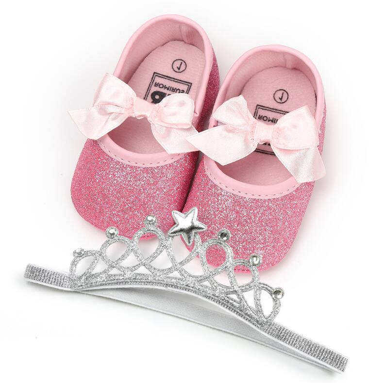 ROMIRUS 2Pcs/Set first walker girls shoes and Elastic Crown hairband for 0-18M Newborn baby gift PU leather mary jane shoes