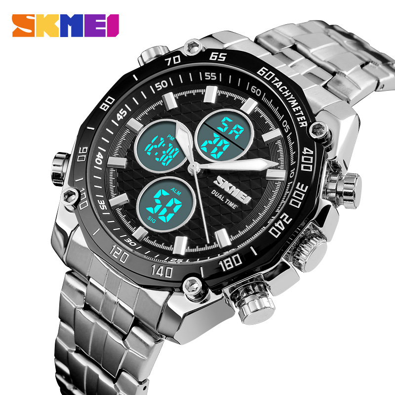 <font><b>SKMEI</b></font> Luxury Sport Watch Men Fashion Casual Mens Watches Dual Time Digital Quartz Wrist Watch Waterproof Clock Male Relogio image
