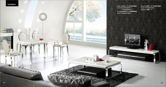 Mármol blanco Home Furniture Set de 3 Unidades: Mesa de centro, TV ...