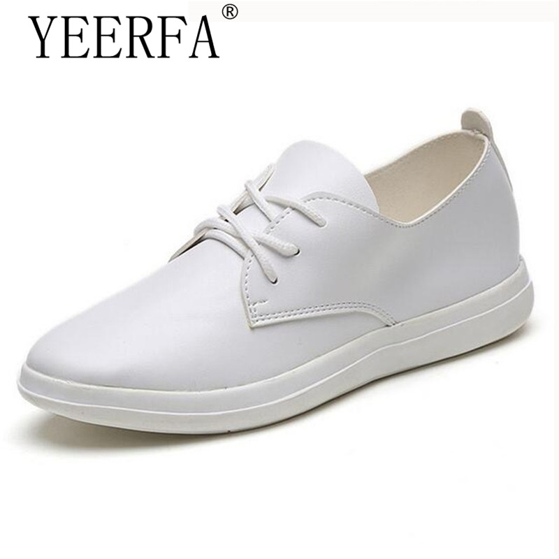 YEERFA Women Flats Lace up PU Leather Casual Shoes Black White Classic Cozy Autumn Platform Girls Shoes Woman size 35-39 women brogue shoes lace up oxfords for women black white platform shoes woman beading thick bottom pu leather flats plus size 43